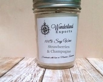Strawberries and Champagne Soy Candle, Strawberries, Champagne, Fizzy, Bubbly, Strawberries and Champagne