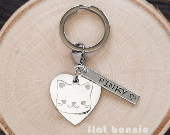 Personalized cat keychain, Kawaii cat keyring, Cute backpack charm kitty, Pet memorial, Crazy cat lady gift, Hand stamped metal, Flat Bonnie