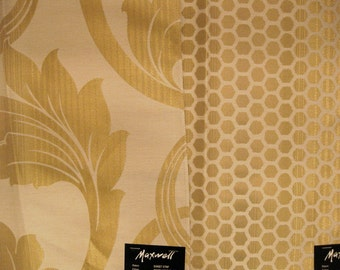 Maxwell Gold Lame Damask Dots Eames Era Designer Fabric Sample Lot Kit