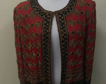 Red Jeweled Long Sleeve Shirt Artsy Blouse by Jkara Size XL Made in India