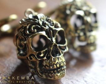 SKULL, brass skull, ear weights, ear guages, stretched ears, tribal piercings, tribal weights,  tribal tunnels , tribal plugs, plugs