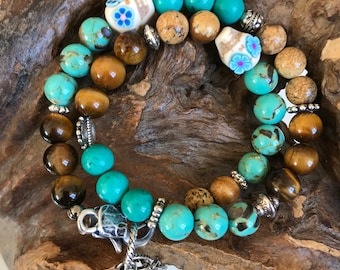Coconut - Bracelet natural stones Howlite turquoise, Tiger eye, Jasper and metal