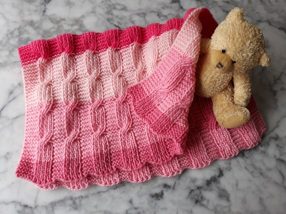 Baby Blanket Knitting pattern: instant download PDF. Easy Aran blanket. Yarn cake knitting pattern. Reversible blanket. Aran baby blanket.