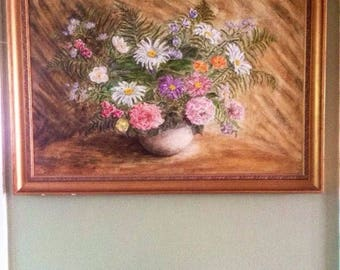 Extra Large Still Life Oil painting 1979 Signed Flowers study - Floral - Botanical - Flower Display - Wall Hanging Art