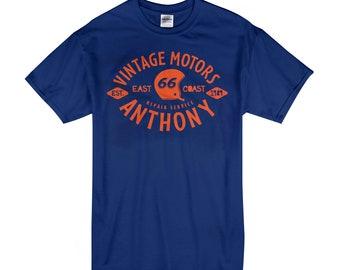 Custom Name Vintage Motors - Cool Modern T-Shirt - Tees with Vinyl (R23)