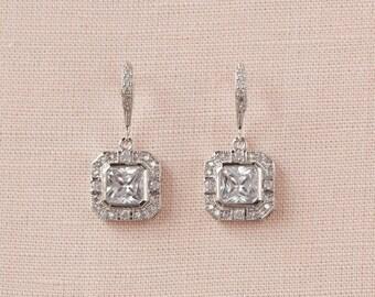 Crystal Bridal Earrings, Cushion Cut Wedding Earrings, Rose Gold Bridal Bracelet, Art Deco, Bridal Jewelry SET, Gold, Jaime Earrings