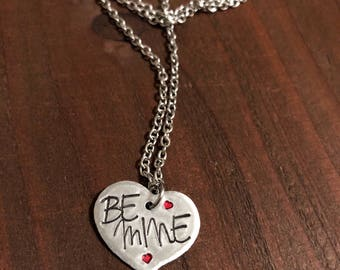 Be Mine Heart Necklace•Hand Stamped Heart Necklace•Valentines Jewelry•Valentines Necklace•Be Mine Heart•Hand Stamped Jewelry