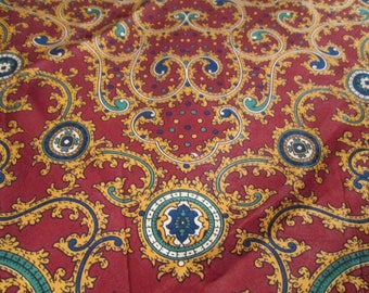 Vintage Silk Scarf Baroque Paisley Pattern and Ruby Red Jewel Tone Colors