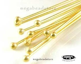 100 pcs 27 Guage Single Dot Head pins Vermeil Gold Gem Stone Headpins F08V