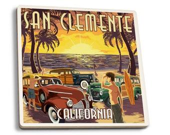 San Clemente, CA - Woodies & Sunset - LP Artwork (Set of 4 Ceramic Coasters)