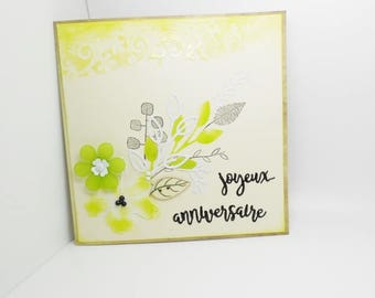 happy birthday handmade card with envelope