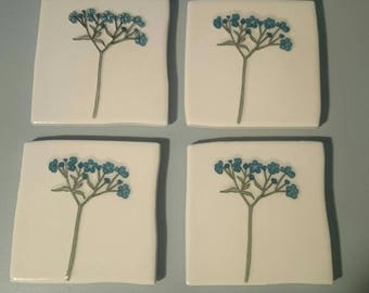 Upcycled tile coasters - floral design - blue flower coasters - set of 4