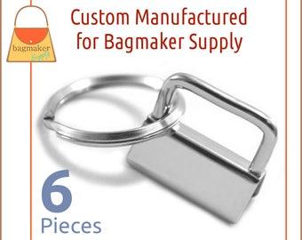 """1 Inch Deluxe Key Fob Hardware, Shiny Nickel Finish, 6 Sets, Purse Handbag Hardware, Jewelry Supply, 1"""", KRA-AA010"""