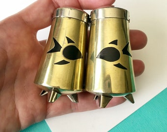 Mid Century Taxco Mixed Metal Salt and Pepper Shakers