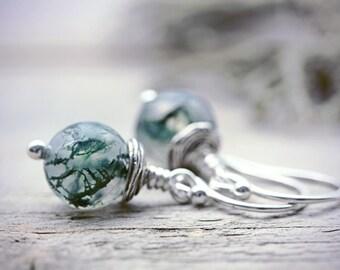 Moss Agate Earrings Quartz Jewelry Semi Precious Crystal Gemstone Botanical Gardening Gift Woodland Forest Outdoor Wanderlust