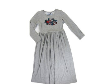 Girls Gray Long Sleeve Maxi Dress with Embroidered Floral Patch, Girl Dresses, Girls Long Dress - Sizes 4/5, 6/6X, 7/8, 10/12 Ready to Ship