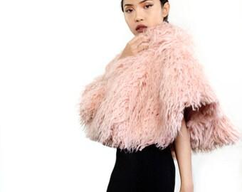 pink fur cape, faux fur capelet, short pink cape, evening wrap, pink weddings, festival coverup, mongolian lamb, long fur cape