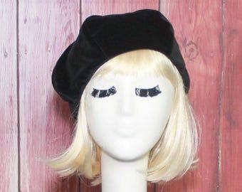 Velvet Black Beret Hat, French Beret, Pin Up Girl Hat
