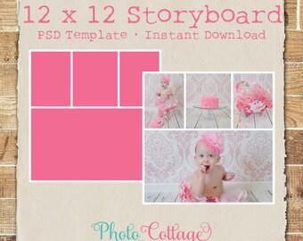 Plantilla de Storyboard de fotografía de 12 x 12, plantilla de fotografía, fotógrafo Blog plantillas, plantilla de Blog Junta, Collage Digital