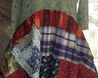 Lagenlook, full, patchwork, quilt dress, artsy, tattered