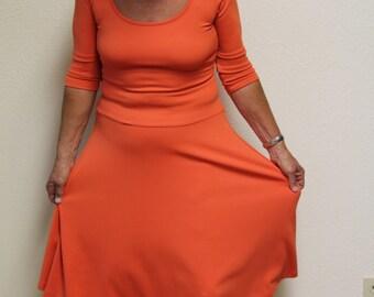 1970's Dress - Vintage Dress - Carilyn Vaile Dress - Size Small - Bright Orange Dress - Casual Day Dress - Stretchy Dress