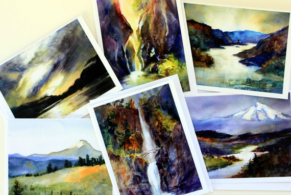 Multnomah Falls 2 - 6 assorted cards - pacific northwest - Columbia Gorge watercolor - Bonnie White watercolor - Gorge artist - gorge art