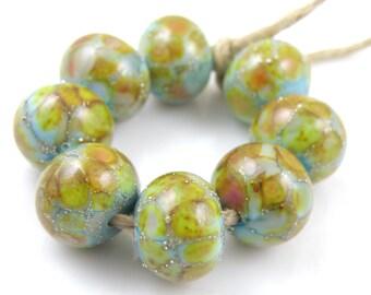Venus SRA Lampwork Handmade Artisan Glass Donut/Round Beads READY to SHIP Set of 8 8x12mm