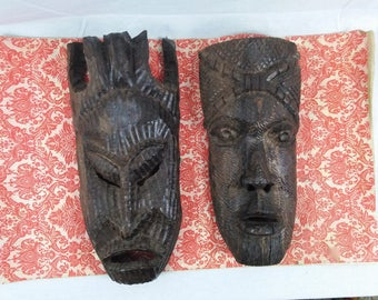 Two Vintage Exotic Carved Wooden Masks//African//Asian//South Western Pacific//Tourist Souvenir Mask//Tribal Ceremonial Masks//Hand Carved