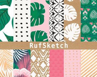 Trendy Tropical 12 x 12 Scrapbooking / Crafting Paper / Digital