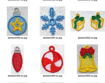 FSL-Christmas-Charms-Earrings ( 12 Machine Embroidery Designs from ATW ) XYZ17C