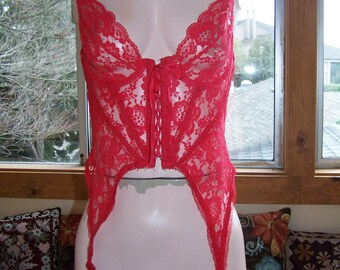 Corset, Lace Corset, Red Lace Corset, Corset with Garters, size 36
