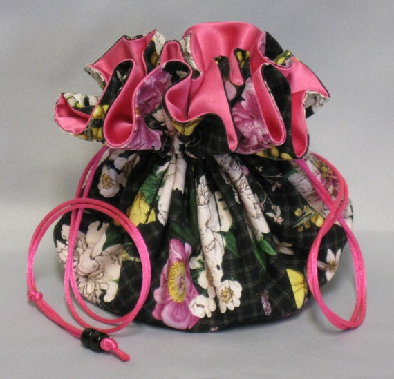 Jewelry Tote---Drawstring  Organizer Pouch---Butterfly Floral-----Large Size