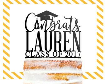 Custom Graduation Cake Topper, Congrats Grad Cake Topper, Graduation Decorations, High School Graduation Topper, Custom Cake Topper (T382)