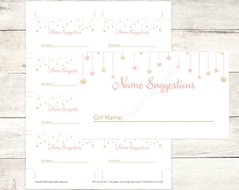 pink gold baby sprinkle name suggestions tickets printable baby shower DIY pink gold baby digital shower games - INSTANT DOWNLOAD
