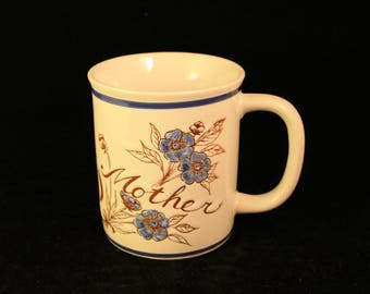 Vintage Mother Mug or Cup Embossed Ceramic  Stoneware Blue Flowers