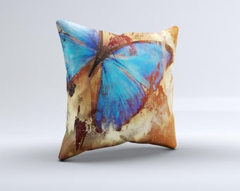 The Bright Blue Butterfly on Grunge Gold Surface ink-Fuzed Decorative Throw Pillow