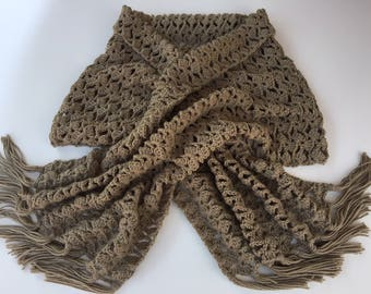 READY TO SHIP/Wrap/Crochet Scarf/Long Wrap/Knit Shawl/Taupe/Tan/Extra Long/Wide/Knit/Adult/Women/Ladies/Blanket Scarf/with Fringe/Tassels