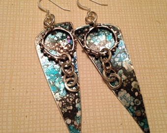 Black and teal ink on lightweight aluminum charms 3-1/4 inch dangle earrings