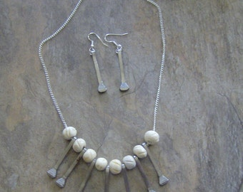 Horse Shoe Nail Necklace And Earring Set With Bone Beads