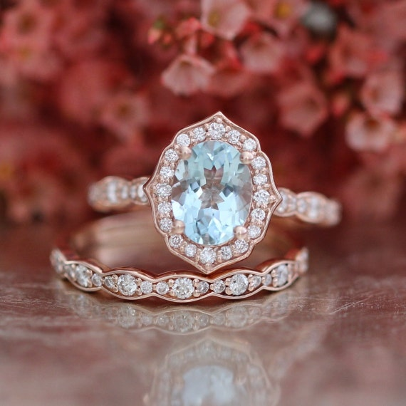 Bridal Set Vintage Floral Oval Aquamarine Engagement Ring And