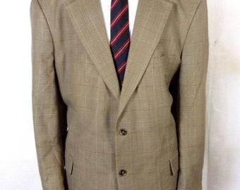 euc Natural Exchange Houndstooth Plaid Rayon Blend Sportcoat Blazer sz 52 R