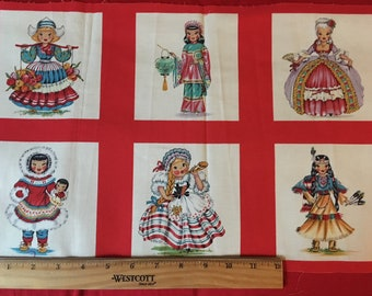 14 Fabric Panels Dolls of the World - Quilt Squares