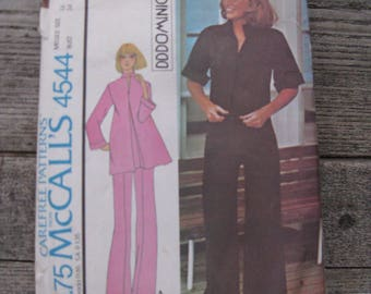 vintage mccalls pattern 4544 dd dominick 1975 misses size 12 bust 34 tunic and pants uncut