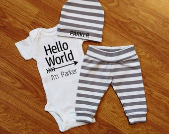 Personalized HELLO WORLD, baby boy, coming home outfit, custom bodysuit, personalized bodysuit, personalized hat, custom hat, shower gift
