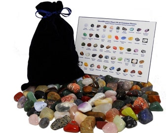 Gift 101 Stone Mixed Lot Assorted Mix of Bulk Natural Mineral Tumbled Gemstones With Velvet Bag and ID Chart, Perfect Stone Gift For Kids