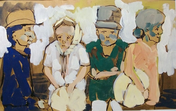 """CAN THO STREETS 15x9.5"""" gouache on paper, live painting, Cần Thơ Province, original by Nguyen Ly Phuong Ngoc"""