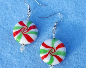 Green and White Peppermint Earrings