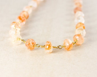 Beaded Peach Sunstone Necklace – Choose Your Length