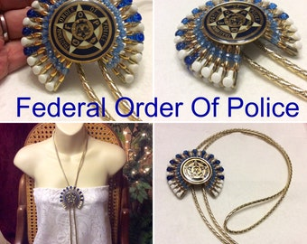 Federal Order Of Police hand made medallion lariat necklace.