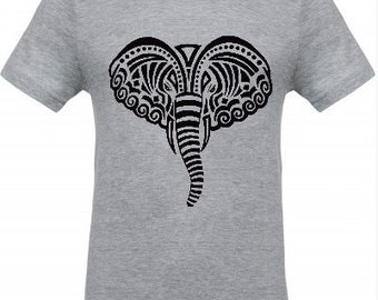 Black elephant on grey man